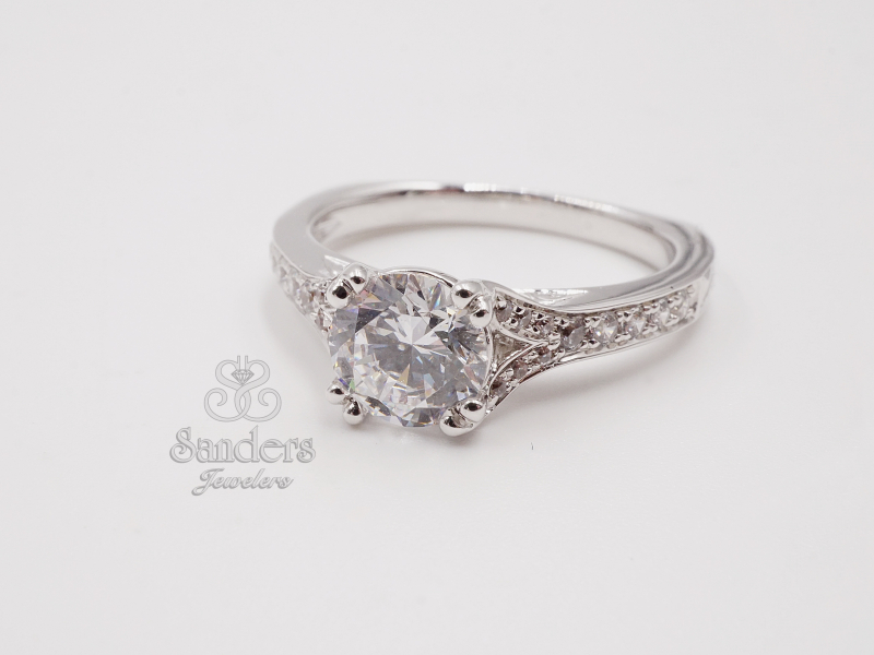 Bridal Jewelry - Split Shank Double Prong Diamond Engagement Ring