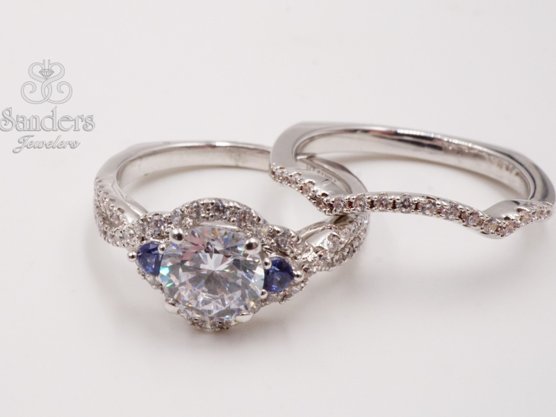 Bridal Jewelry - 3 Stone Diamond and Sapphire Halo Engagement Ring - image #4