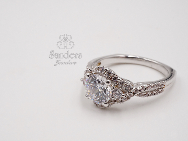 Bridal Jewelry - 3 Stone Halo Engagement Ring