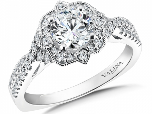 Bridal Jewelry - Vintage Inspired Floral Halo Engagement Ring