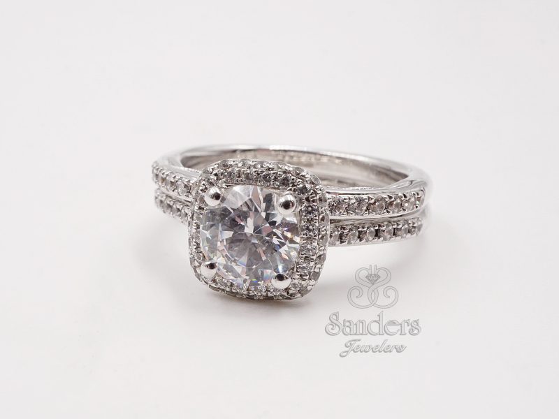Bridal Jewelry - Pave Cushion Halo Engagement Ring - image #2