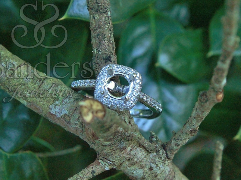 Bridal Jewelry - Pave Cushion Halo Engagement Ring