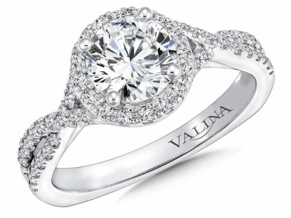 Bridal Jewelry - Twisting Round Halo Engagement RIng