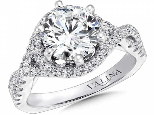 Bridal Jewelry - Twisting Halo Engagement Ring