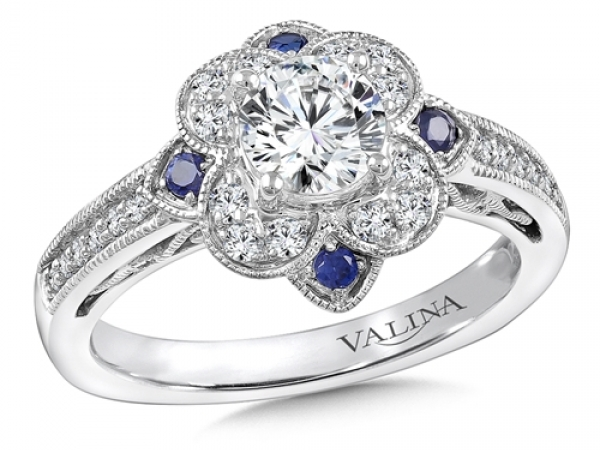 Bridal Jewelry - Floral Halo Sapphire Accented Engagement Ring