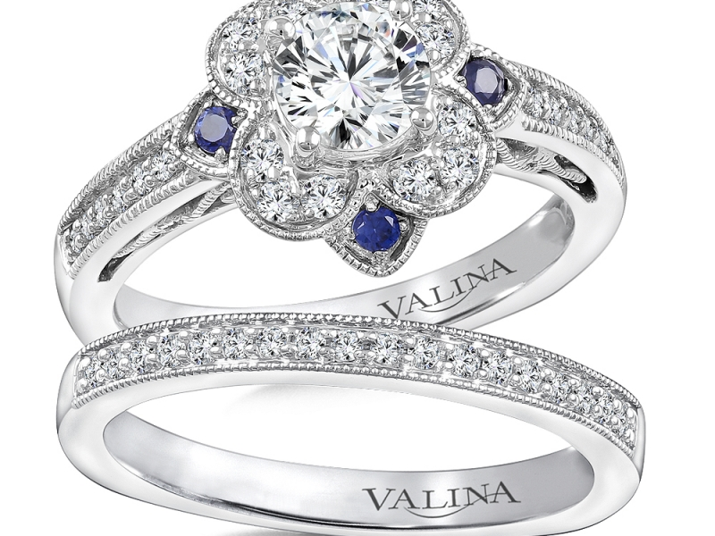 Bridal Jewelry - Floral Halo Sapphire Accented Engagement Ring - image #3