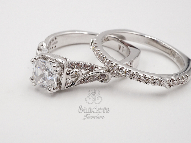 Bridal Jewelry - Cushion Accented Engagement Ring - image #2