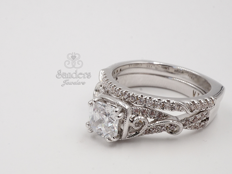 Bridal Jewelry - Cushion Accented Engagement Ring - image #3