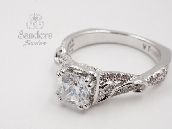 Bridal Jewelry - Cushion Accented Engagement Ring
