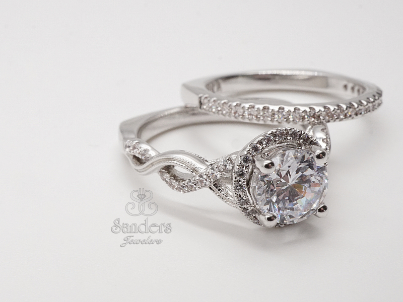 Bridal Jewelry - Twisting Round Halo Engagement RIng - image 2