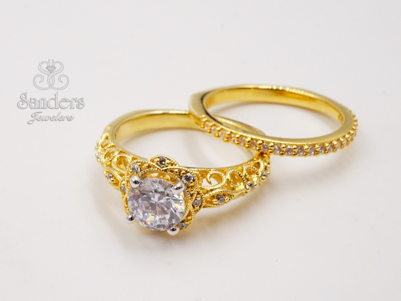 Bridal Jewelry - Vintage Inspired Diamond Engagement Ring - image #2