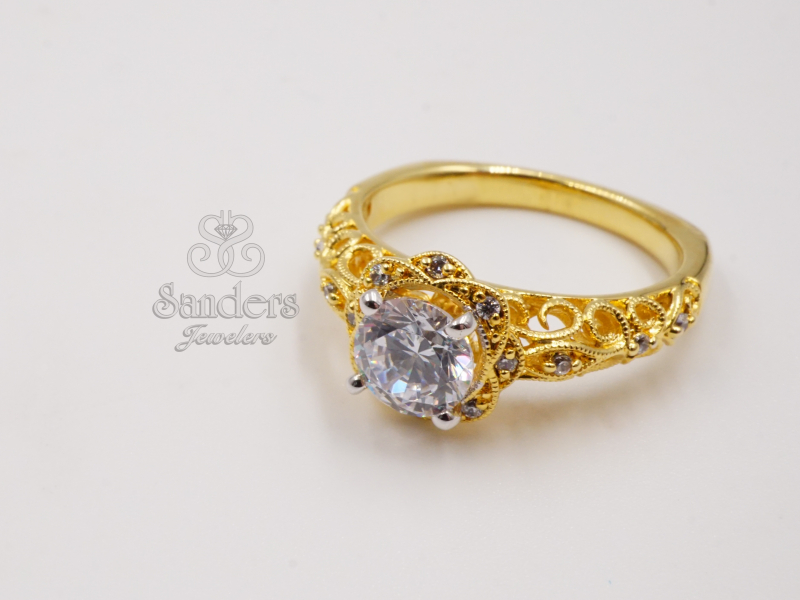 Bridal Jewelry - Vintage Inspired Diamond Engagement Ring