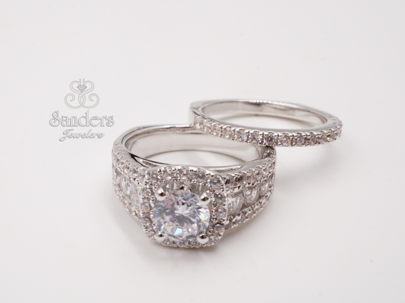 Bridal Jewelry - 3 Row Cushion Halo Diamond Engagement Ring - image #2