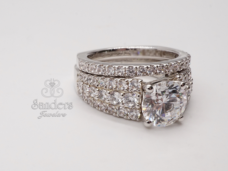 Bridal Jewelry - Pave Diamond Engagement Ring - image #4