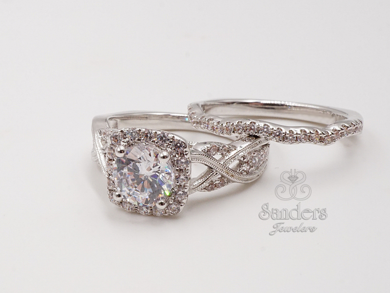 Bridal Jewelry - Twisting Halo Engagement Ring - image #2