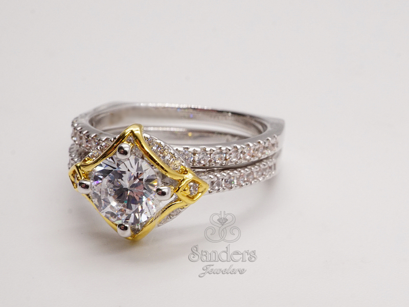 Bridal Jewelry - Kite Halo Diamond Engagement Ring - image #2