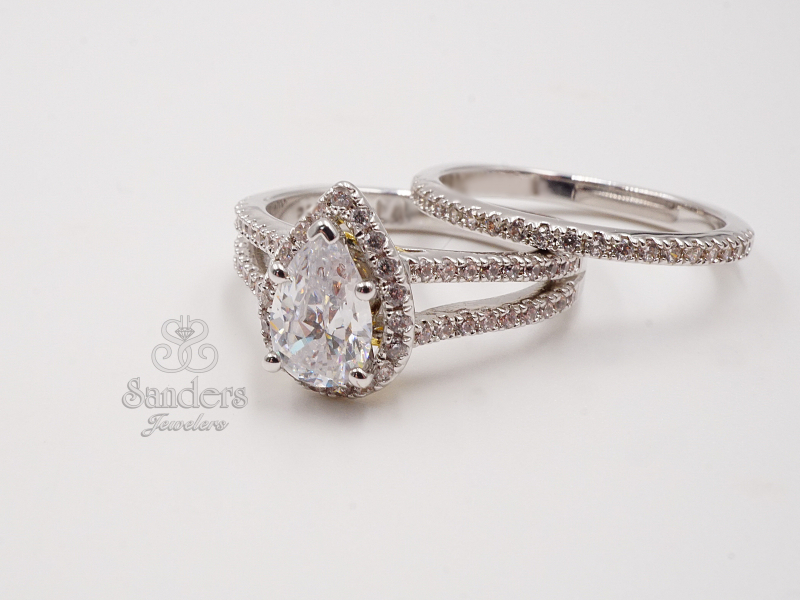 Bridal Jewelry - Pear Halo Diamond Engagement Ring - image #2