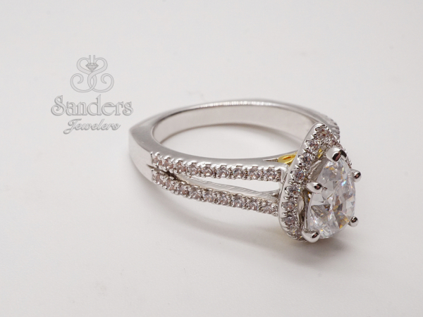 Bridal Jewelry - Pear Halo Diamond Engagement Ring