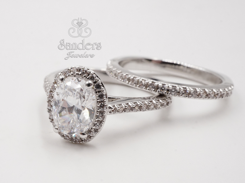Bridal Jewelry - Oval Halo Engagement Ring - image #2