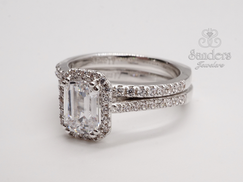 Bridal Jewelry - Emerald Cut Halo Engagement Ring - image #3