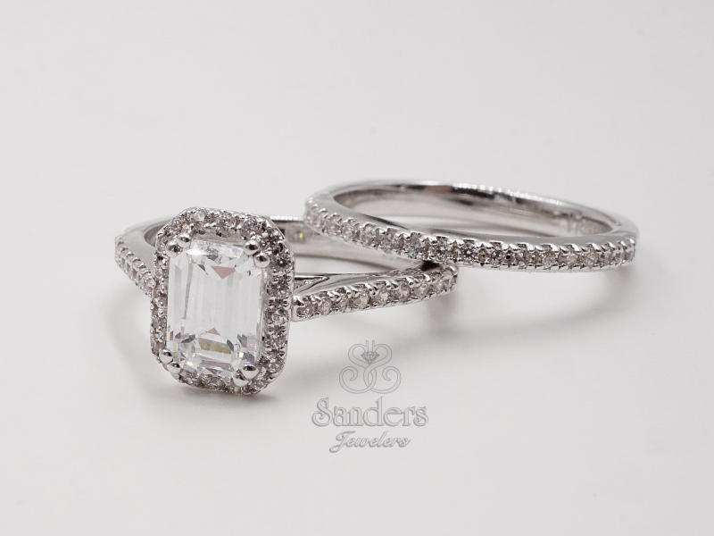 Bridal Jewelry - Emerald Cut Halo Engagement Ring - image #2