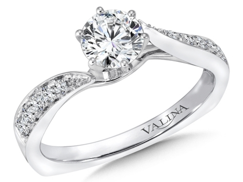 Bridal Jewelry - Diamond Bypass Engagement Ring - image #3