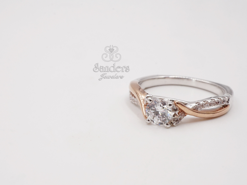 Bridal Jewelry - Two Tone Criss-Cross Engagement Ring