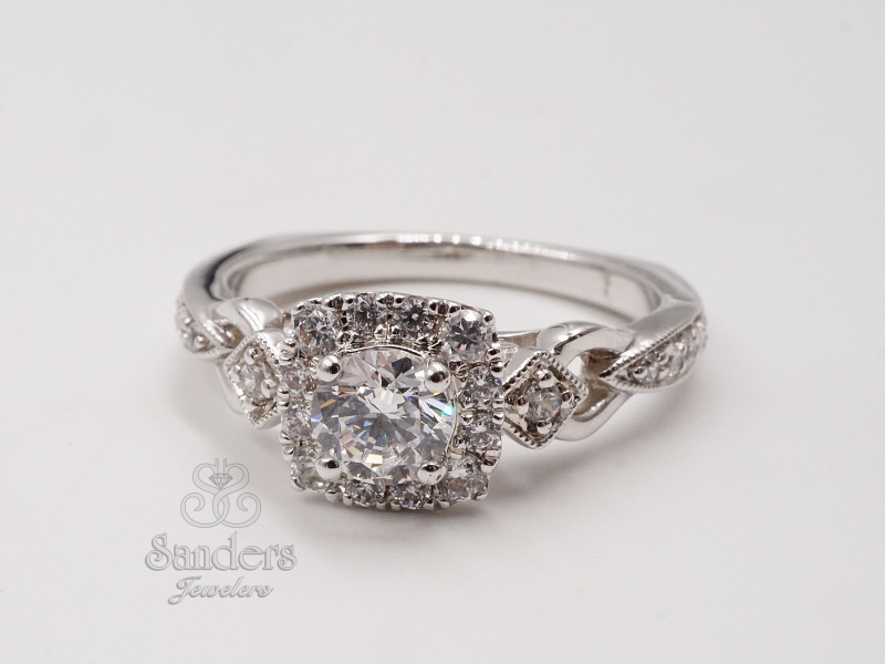 Bridal Jewelry - Vintage Inspired Cushion Halo Engagement Ring