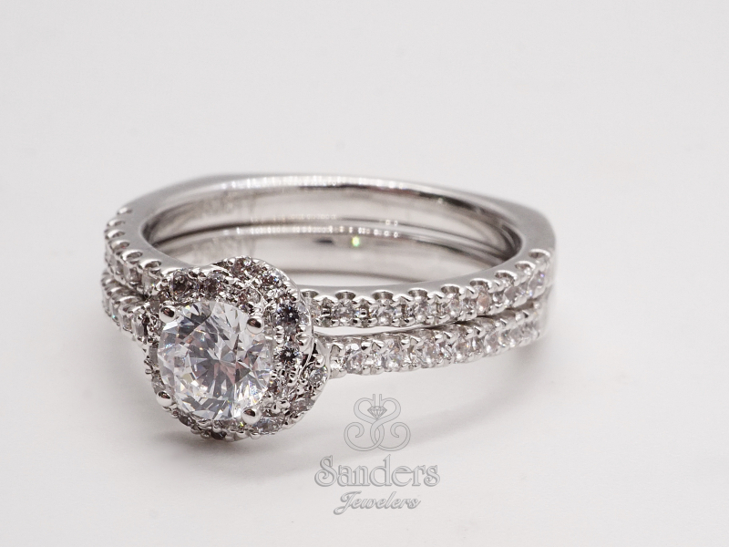 Bridal Jewelry - Floral Halo Engagement Ring - image 3
