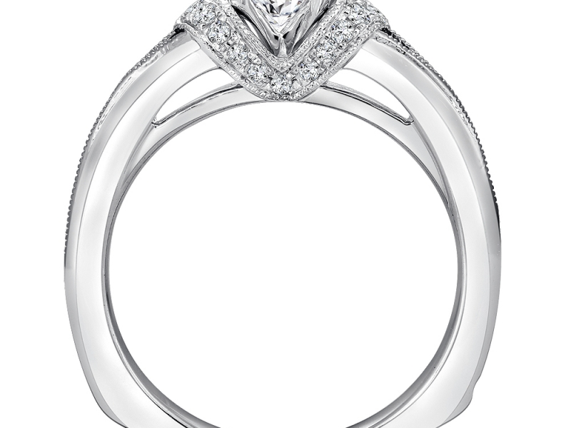 Bridal Jewelry - Split Shank Diamond Engagement Ring - image 2