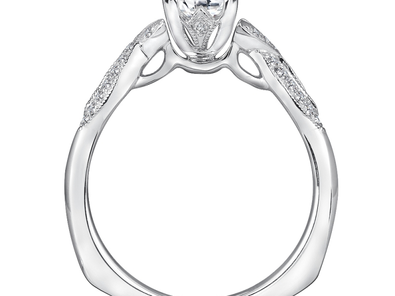 Bridal Jewelry - Twisting Princess Cut Engagement Ring - image #2