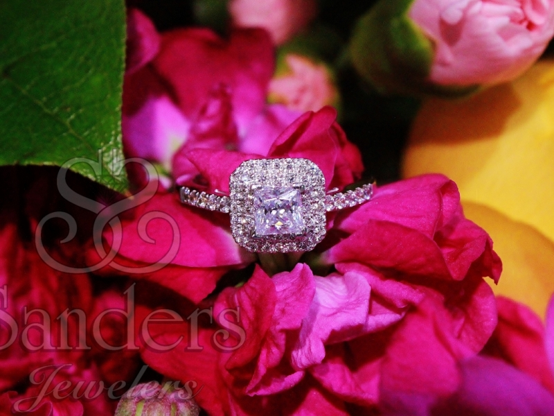 Bridal Jewelry - Cut Corner Double Halo Engagement Ring