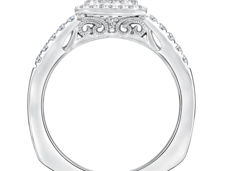 Bridal Jewelry - Cut Corner Double Halo Engagement Ring - image #2