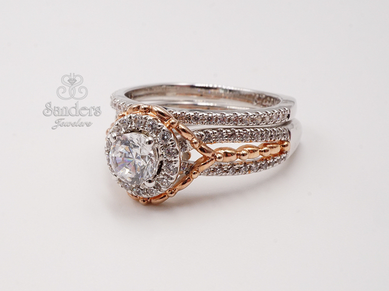 Bridal Jewelry - Two-Tone Round Halo Engagement Ring - image 2