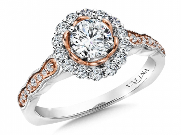 Bridal Jewelry - Two-Tone Round Halo Engagement Ring