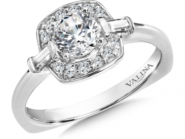 Bridal Jewelry - Cushion Halo w/ Baguette Accents Engagement Ring