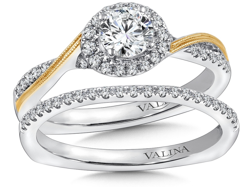 Bridal Jewelry - Two-Tone Criss-Cross Halo Engagement Ring - image #3