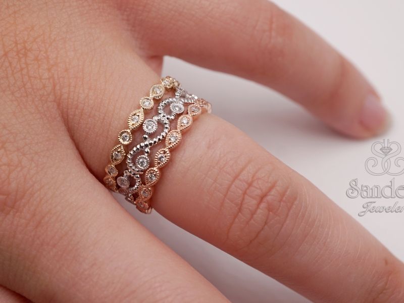 Rings - Scallop Diamond Stacker Band - image #2