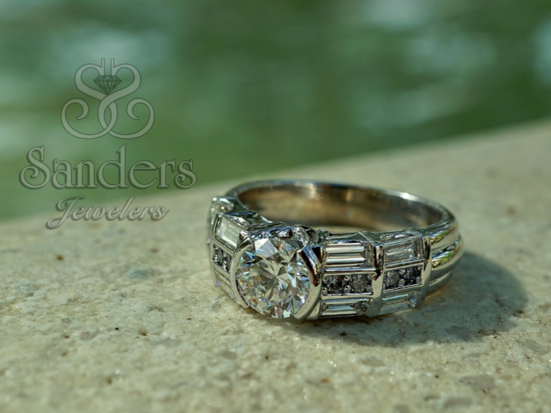 Sanders Jewelers Custom Designs - Blue Diamond Custom Engagement Ring - image #3