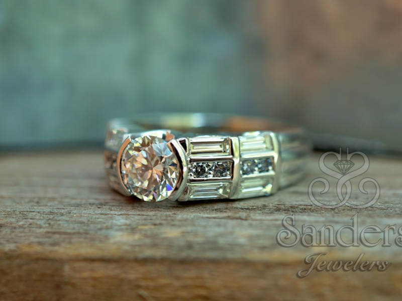 Sanders Jewelers Custom Designs - Blue Diamond Custom Engagement Ring - image #2