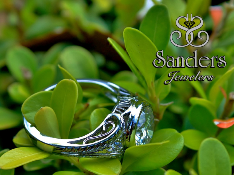 Sanders Jewelers Custom Designs - Handcarved Vintage Inpsired Wedding Ring - image #2
