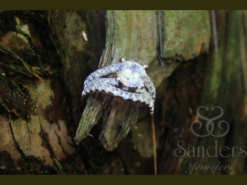 Bridal Jewelry - 3 Row Diamond Engagement Ring