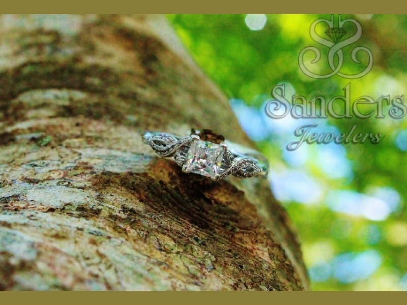 Bridal Jewelry - Twisting Princess Cut Engagement Ring