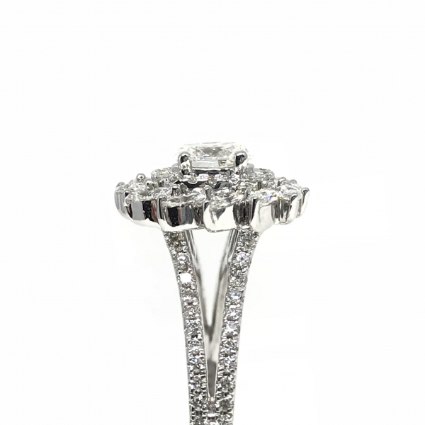 Engagement Rings - Oval Halo Marqouise Engagement Ring  - image #3