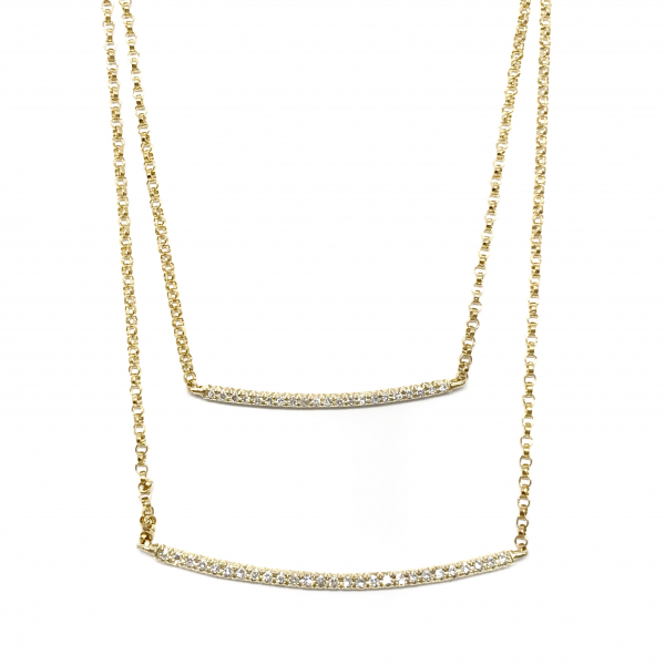 Fine Jewelry - Double Diamond Bar Necklace