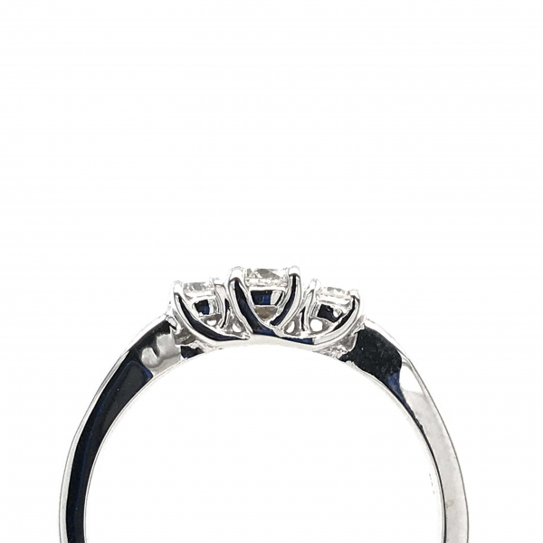 Engagement Rings - 3 Stone White Gold Engagement Ring - image #2