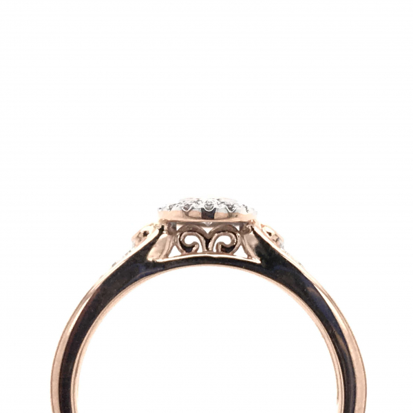 Engagement Rings - Oval Rose Gold Engagement Ring with a Diamond Halo - image #2