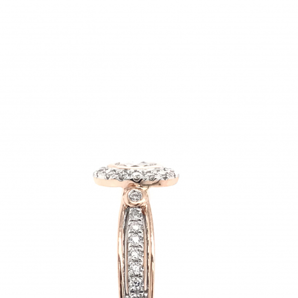 Engagement Rings - Oval Rose Gold Engagement Ring with a Diamond Halo - image #3