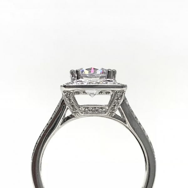 Engagement Rings - Princess Halo Semi-Mount  - image #2