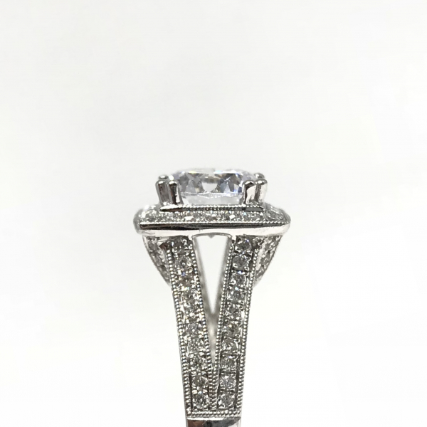 Engagement Rings - Princess Halo Semi-Mount  - image #3